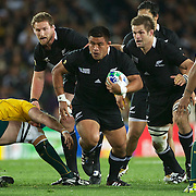 Keven Mealamu, New Zealand, in action during the New Zealand V Australia Semi Final match at the IRB Rugby World Cup tournament, Eden Park, Auckland, New Zealand, 16th October 2011. Photo Tim Clayton...