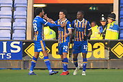 GOAL Ollie Norburn celebrates scoring from the penalty spot 1-0 during the EFL Sky Bet League 1 match between Shrewsbury Town and Rochdale at Greenhous Meadow, Shrewsbury, England on 17 November 2018.