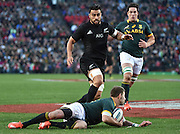 JOHANNESBURG, South Africa, 25 July 2015 : Willie le Roux of the Springboks saves a try by Liam Messam of the All Blacks during the Castle Lager Rugby Championship test match between SOUTH AFRICA and NEW ZEALAND at Emirates Airline Park in Johannesburg, South Africa on 25 July 2015. Bokke 20 - 27 All Blacks<br /> <br /> © Anton de Villiers / SASPA