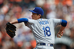 SAN FRANCISCO, CA - OCTOBER 02: Kenta Maeda #18 of the Los Angeles Dodgers pitches against the San Francisco Giants during the first inning at AT&T Park on October 2, 2016 in San Francisco, California.  (Photo by Jason O. Watson/Getty Images) *** Local Caption *** Kenta Maeda