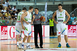 Zoran Dragic of Slovenia talking with referee during friendly match between National teams of Slovenia and Montenegro for Eurobasket 2013 on August 23, 2013 in Arena Bonifika, Koper, Slovenia. (Photo by Matic Klansek Velej / Sportida.com)