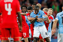 Emre Can and Lucas Leiva of Liverpool pull Yaya Toure of Manchester City off Adam Lallana of Liverpool as tensions boil over - Mandatory byline: Rogan Thomson/JMP - 28/02/2016 - FOOTBALL - Wembley Stadium - London, England - Liverpool v Manchester City - Capital One Cup Final.