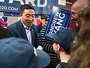 12 DECEMBER 2019 - DES MOINES, IOWA: ANDREW YANG talks to supporters during the opening of his campaign office in Ames, IA. Yang, an entrepreneur, is running for the Democratic nomination for the US Presidency in 2020. He brought bus tour to Ames, IA, Thursday. Iowa hosts the the first election event of the presidential election cycle. The Iowa Caucuses will be on Feb. 3, 2020.        PHOTO BY JACK KURTZ
