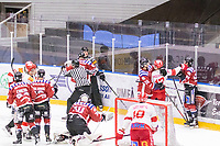 2020-01-19 | Umeå, Sweden:Vallentuna (17) Marcus Andersson with a right punch at Teg (68) Marcus Eklund in AllEttan during the game  between Teg and Vallentuna at A3 Arena ( Photo by: Michael Lundström | Swe Press Photo )<br /> <br /> Keywords: Umeå, Hockey, AllEttan, A3 Arena, Teg, Vallentuna, mltv200119, fight