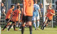 Lasse Spaniel (Hillerød) jubler efter scoringen til 1-0 under kampen i 2. Division mellem Hillerød Fodbold og FC Helsingør den 21. august 2019 på Hillerød Stadion (Foto: Claus Birch).