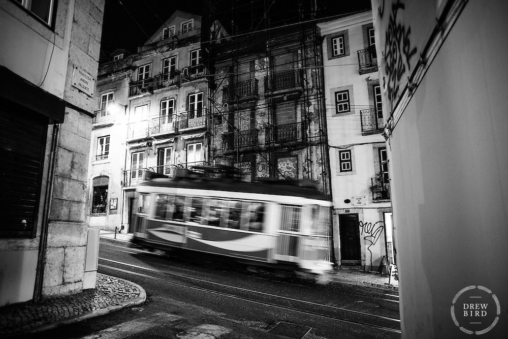 Lisbon, Portugal <br /> Night trolly, street car.  Street Photographer<br /> San Francisco Photographer   Bay Area Photographer<br /> <br /> Drew Bird Photography<br /> San Francisco Bay Area Photographer<br /> Have Camera. Will Travel. <br /> <br /> www.drewbirdphoto.com<br /> drew@drewbirdphoto.com