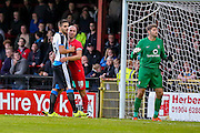 Russell Penn & Aleksandar Mitrovic during the Pre-Season Friendly match between York City and Newcastle United at Bootham Crescent, York, England on 29 July 2015. Photo by Simon Davies.