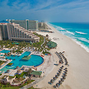 Aerial view of the hotel zone from the Hilton Cancun.<br />