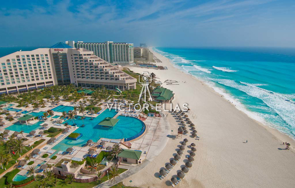 Aerial view of the hotel zone from the Hilton Cancun.<br /> Cancun, Quintana Roo. Mexico.