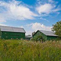 Barn under a bright blue sky