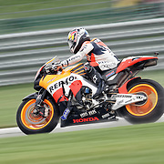 August 8, 2009, Dani Pedrosa practices during Free Practice 1 at the Red Bull Indianapolis Grand Prix.