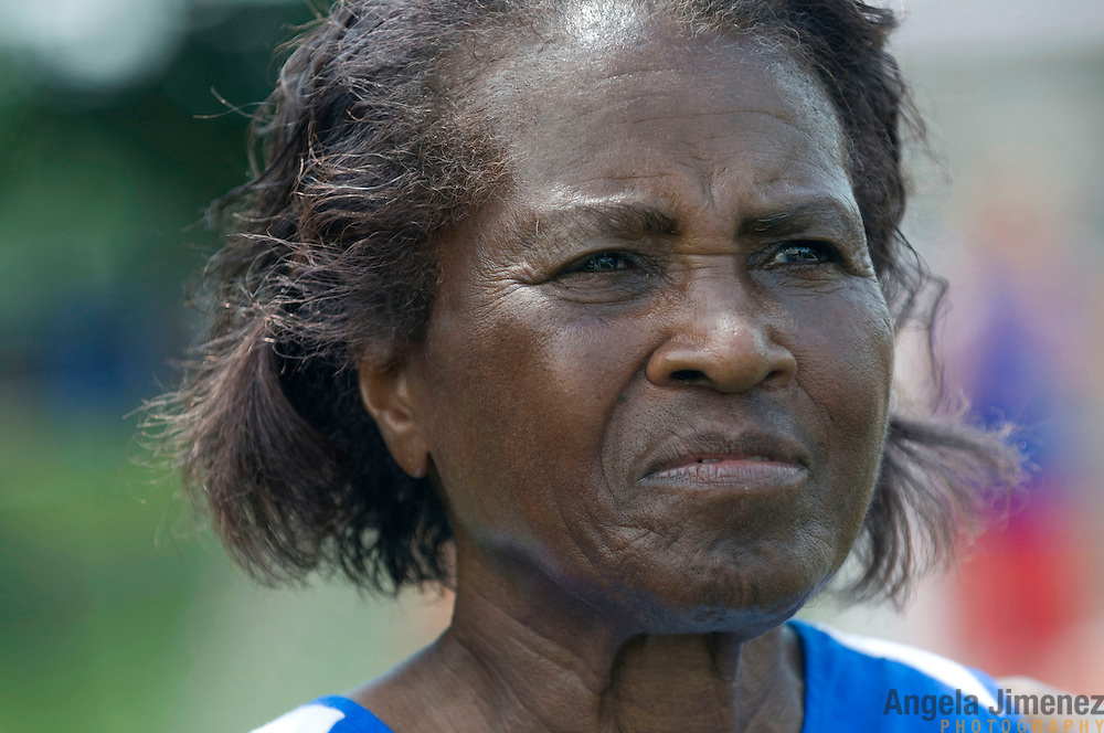 Date: 6/27/09.Desk: NAT.Slug: aging$500.Assign Id: 30081997A..Thelma Wilson, 79, a masters athlete from Manhattan, New York, talks to a reporter at the 2009 USATF (USA Track & Field) East Region Masters Track & Field Championships at East Stroudsburg University in East Stroudsburg, Pennsylvania on June 27, 2009. ..Photo by Angela Jimenez for The New York Times .photographer contact 917-586-0916