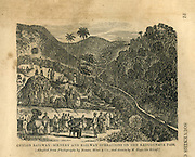 Ceylon Railway. Scenery and railway operations on the Kadugannawa Pass.<br /> from Souvenirs of Ceylon Album.<br /> from photo by Slinn &amp; Co and drawn by M. Hypolite Silvaf