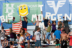 "Fans with sign ""Bis morgen"" at A1 Beach Volleyball Grand Slam tournament of Swatch FIVB World Tour 2010, on July 31, 2010 in Klagenfurt, Austria. (Photo by Matic Klansek Velej / Sportida)"