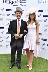 Elizabeth Hurley and Henry Dent-Brocklehurst at The Investec Derby, Epsom Racecourse, Epsom, Surrey, England. 02 June 2018.