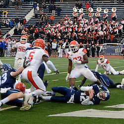 TOM KELLY IV &mdash; DAILY TIMES<br /> Villanova QB Chris Polony (12) runs and dives into the end zone for a touchdown during the Sam Houston State University at Villanova University NCAA FCS Division 1 - AA quarterfinal game at Villanova Stadium.