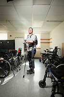 Dan Webb was paralyzed after falling 12-feet out of tree while sitting in a hunting stand. He is learning to walk again with the aid of ReWalk, a motorized exoskeleton developed by Israel-based Argo Medical Technologies. He is pictured at MossRehab in Elkins Park, Pa., on March 27, 2012.