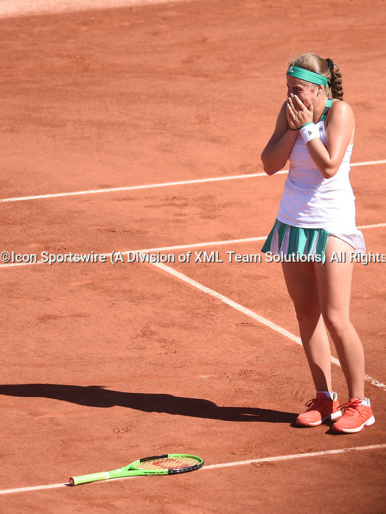 PARIS, FRANCE - JUNE 08: Jelena Ostapenko (LAT) reacts during day twelve match of the 2017 French Open on June 8, 2017, at Stade Roland-Garros in Paris, France. (Photo by Cynthia Lum/ Icon Sportswire)