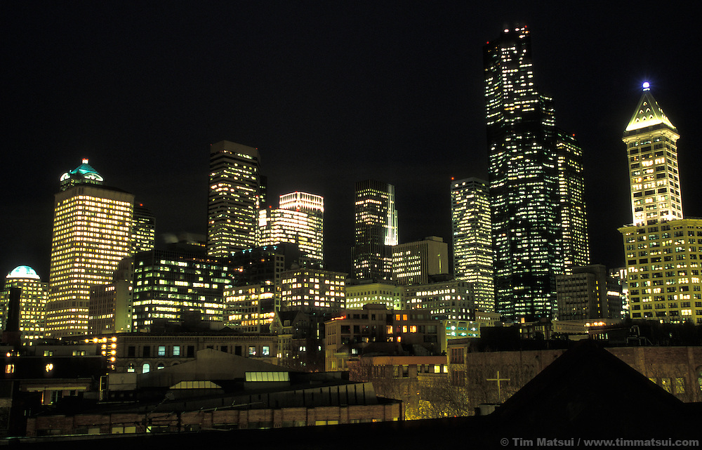 Downtown Seattle at night.