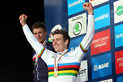 Winner  Arnaud Demare (France) at medal ceremony after the Men´s Under 23 Road Race on day five of the UCI Road World Championships on September 23, 2011 in Copenhagen, Denmark. (Photo by Marjan Kelner / Sportida Photo Agency)