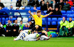 Bristol Rovers' Matty Taylor is challenged by Tranmere Rovers's Steven Jennings - Photo mandatory by-line: Neil Brookman/JMP - Mobile: 07966 386802 - 08/11/2014 - SPORT - Football - Birkenhead - Prenton Park - Tranmere Rovers v Bristol Rovers - FA Cup - Round One