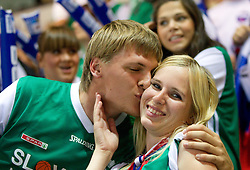 Fans of Slovenia during basketball match between National teams of Russia and Slovenia in Group D of Preliminary Round of Eurobasket Lithuania 2011, on September 5, 2011, in Arena Svyturio, Klaipeda, Lithuania.  (Photo by Vid Ponikvar / Sportida)