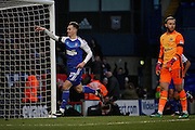 Ipswich Town forward Tom Lawrence (27) celebrates a spectacular third goal for Ipswich as Blackburn Rovers goalkeeper, Jason Steele (1) looks on during the EFL Sky Bet Championship match between Ipswich Town and Blackburn Rovers at Portman Road, Ipswich, England on 14 January 2017. Photo by Nigel Cole.