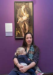 Edinburgh, Scotland, United Kingdom. 14 December, 2017. <br /> <br /> Winning painting of BP Portrait Award 2017, Breech! With the subject of the painting, artist's wife Virginia and her baby at the opening of the exhibition. The BP Portrait Award 2017 opens at the Scottish National Portrait Gallery on 16 December 2017.