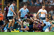 SYDNEY, NSW - MARCH 09: Reds player Taniela Tupou (3) tackled by Waratahs player Israel Folau (14) at round 4 of Super Rugby between NSW Waratahs and Queensland Reds on March 09, 2019 at The Sydney Cricket Ground, NSW. (Photo by Speed Media/Icon Sportswire)
