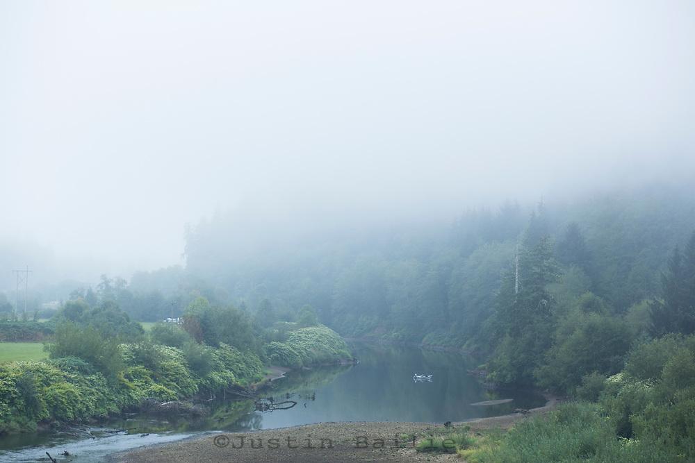 Salmon fishing the Nehalem River, Oregon.
