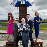 02.05.2018.        <br /> Limerick Racecourse launches Twilight Racing Series. <br /> Pictured are left to right, model, Chloe Walsh, bookie, Patrick Mulcahy, Seamus Mulvanney Bookmakers, John Davitt, Crescent Shopping Centre, Stephen Keeley, Fields The Jeweller, and model, Emma Doran. Picture: Alan Place