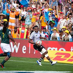 Fiji No.7 scores a try against South Africa in the Semi-Final at the 2019 HSBC World Sevens Series Hamilton,  at FMG Stadium in Hamilton, New Zealand on Sunday, 27 January 2018. Photo: Brett Phibbs / lintottphoto.co.nz