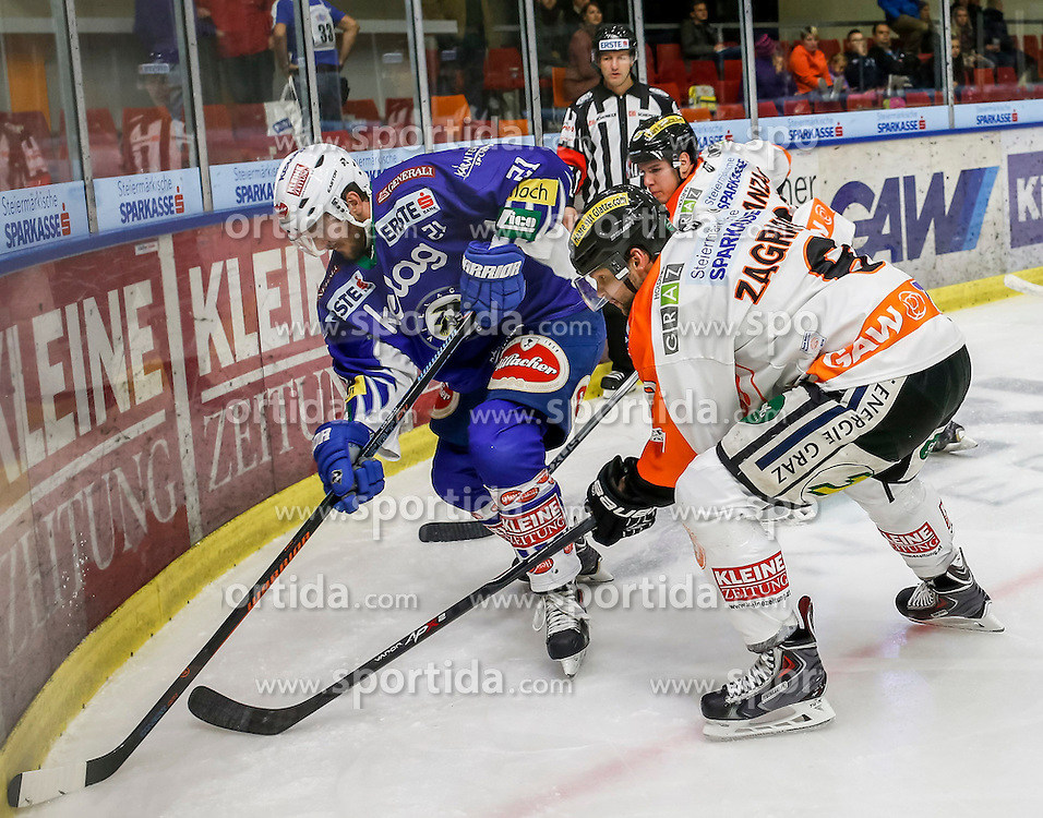23.10.2014, Eisstadion Liebenau, Graz, AUT, EBEL, Moser Medical Graz 99ers vs EC VSV, 13. Runde, im Bild von links Benjamin Petrik (EC VSV), Marek Zagrapan (Moser Medical Graz 99ers) und Mitch Ganzak (Moser Medical Graz 99ers) // from left Benjamin Petrik (EC VSV), Marek Zagrapan (Moser Medical Graz 99ers) and Mitch Ganzak (Moser Medical Graz 99ers) during the Erste Bank Icehockey League 13th Round match between Moser Medical Graz 99ers and EC VSV at the Ice Stadium Liebenau, Graz, Austria on 2014/10/23, EXPA Pictures © 2014, PhotoCredit: EXPA/ Erwin Scheriau