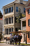 Historic home on the Battery and horse carriage tour in Charleston, SC.