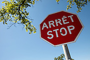 Dual language Stop Sign, Saint-Boniface streetscapes, Winnipeg, Canada.