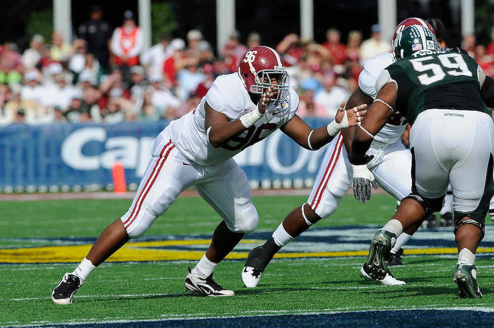 January 1, 2011: Luther Davis of the Alabama Crimson Tide in action during the NCAA football game between Michigan State Spartans and the Alabama Crimson Tide at the 2011 Capital One Bowl in Orlando, Florida. Alabama defeated Michigan State 49-7.
