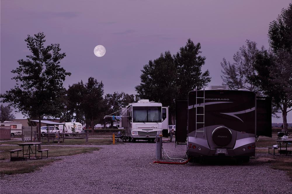 Full moon over KOA Campground, Hardin,  Montana, USA