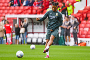 Leeds United forward Tyler Roberts (11) warming up during the EFL Sky Bet Championship match between Barnsley and Leeds United at Oakwell, Barnsley, England on 15 September 2019.