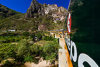 A Chihuahua al Pacifico Railroad train (Chepe)  crossing the Santa Barbara Bridge, near Temoris, en route  from El Fuerte to the Copper Canyon, Mexico