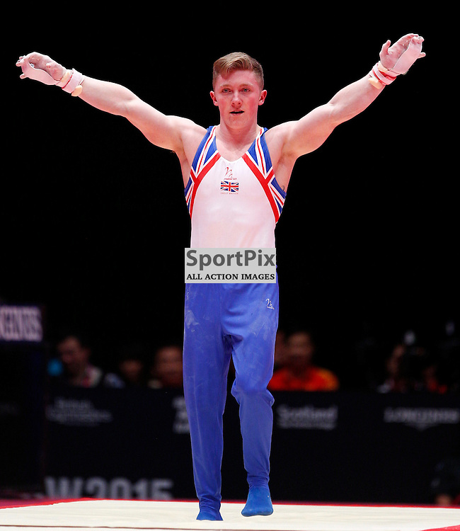 2015 Artistic Gymnastics World Championships being held in Glasgow from 23rd October to 1st November 2015....Great Britain's Nile Wilson performs in the Rings competition in the Men's Team Final...(c) STEPHEN LAWSON | SportPix.org.uk