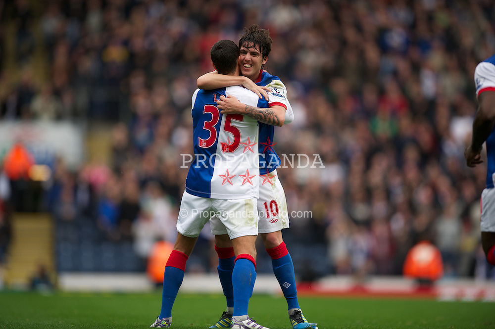BLACKBURN, ENGLAND - Sunday, October 23, 2011: Blackburn Rovers' Mauro Formica celebrates scoring the first goal against Tottenham Hotspur during the Premiership match at Ewood Park. (Pic by David Rawcliffe/Propaganda)