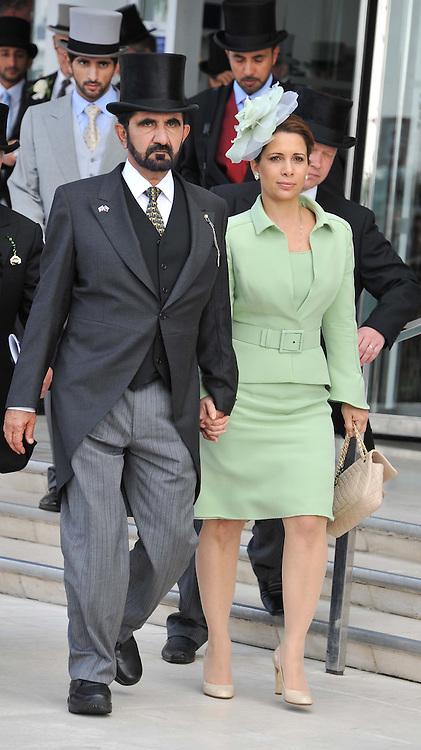 H.H. Sheikh Mohammed bin Rashid Al Maktoum and Princess Haya bint al-Hussein of Jordan at the Investec Derby at Epsom Racecourse, Epsom Downs, Surrey on 4th June 2011.