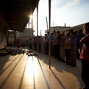 August 09, 2012 - Marea, Aleppo, Syria: Local men pray during the funeral of Housin Al Ali and Omam Kassam, two Free Syria Army fighters killed in combat in Alepo's Salehedine neighborhood...The Syrian army and the FSA have in the past week exchanged heavy fire in a battle for the control of Syria's economic capital, Aleppo.
