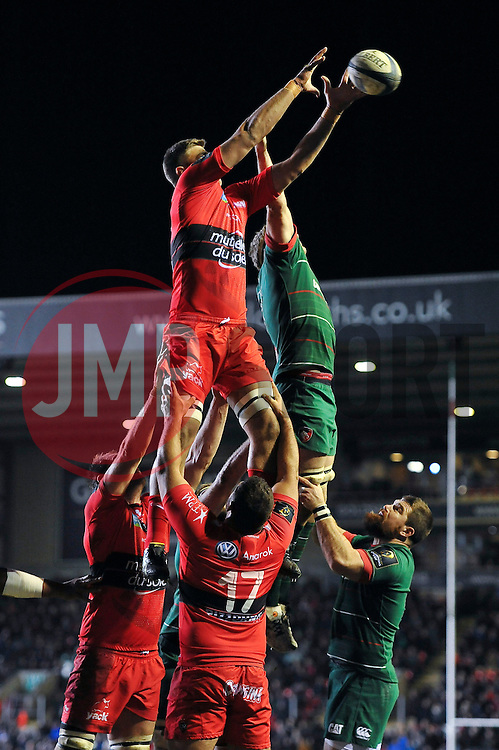 Juan Smith of Toulon competes with Jamie Gibson of Leicester Tigers for the ball at a lineout - Photo mandatory by-line: Patrick Khachfe/JMP - Mobile: 07966 386802 07/12/2014 - SPORT - RUGBY UNION - Leicester - Welford Road - Leicester Tigers v Toulon - European Rugby Champions Cup