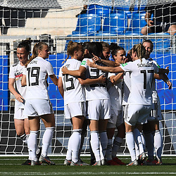 Team of Germany celebrates the first scoring during the Women's World Cup match between Germany and South Africa at Stade de la Mosson on June 17, 2019 in Montpellier, France. (Photo by Alexandre Dimou/Icon Sport)