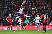 Harry Kane (10) of Tottenham Hotspur wins a headers during the Premier League match between Bournemouth and Tottenham Hotspur at the Vitality Stadium, Bournemouth, England on 11 March 2018. Picture by Graham Hunt.