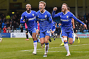 Gillingham midfielder Josh Wright (44) celebrates scoring his second goal (2-0) with Gillingham midfielder Josh Parker (19) (left) and Gillingham midfielder Scott Wagstaff (7) (right) during the EFL Sky Bet League 1 match between Gillingham and Southend United at the MEMS Priestfield Stadium, Gillingham, England on 25 February 2017. Photo by Martin Cole.