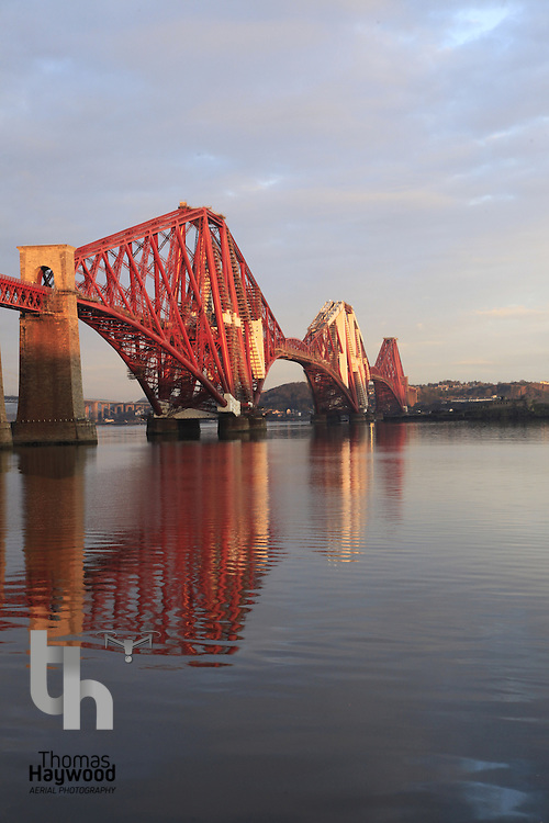 Forth Rail Bridge at sunrise on November 2011 in Scotland. The world's first major steel bridge.