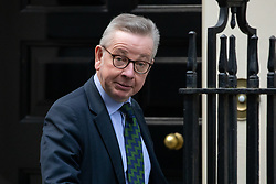 © Licensed to London News Pictures. 11/02/2020. London, UK. Chancellor of the Duchy of Lancaster Michael Gove arriving in Downing Street to attend a Cabinet meeting this morning. An announcement on the high speed rail line 'HS2' is expected today.  Photo credit : Tom Nicholson/LNP