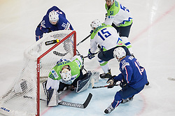 Matija Pintaric of Slovenia, Blaz Gregorc of Slovenia and Mitja Robar of Slovenia vs Yohann Auvitu of France and Laurent Meunier of France during the 2017 IIHF Men's World Championship group B Ice hockey match between National Teams of France and Slovenia, on May 15, 2017 in AccorHotels Arena in Paris, France. Photo by Vid Ponikvar / Sportida
